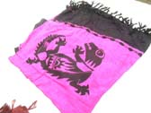 Black gecko image on hot pink indonesian shawl skirt