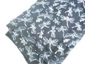 White dragonfly pattern on black bali bali sarong