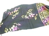Swimsuit cover all sarong in black with fashionable pink and green flower pattern