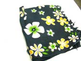Spring flower print, black indonesian pareo wrap