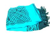 Celtic knot theme sarong on aqua background