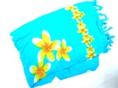 Light blue fashion sarong with yellow floral images
