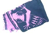 Indonesian made gecko print sarong in black and pink
