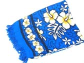 Aloha fashion sarong in royal blue with white hibiscus flowers