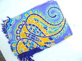 Paisley style fashion sarong in purple, yellow and blue