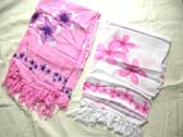 White and pink colored fashion sarong with flower theme