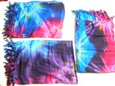 Dark blue, purple and pink colored tie dyed leisure wear sarong