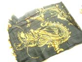 Flying dragon in yellow on black urban summer sarong