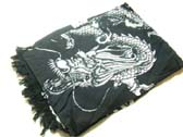White asian dragon insignia on black handcrafted bali scarf