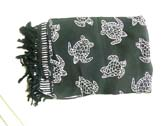 Trendy white turtle pattern on black handmade cover up