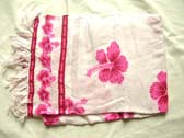 White cruise wear sarong with pink hibiscus flowers