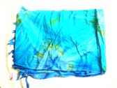 Balinese pareo sarong in blue with art theme design