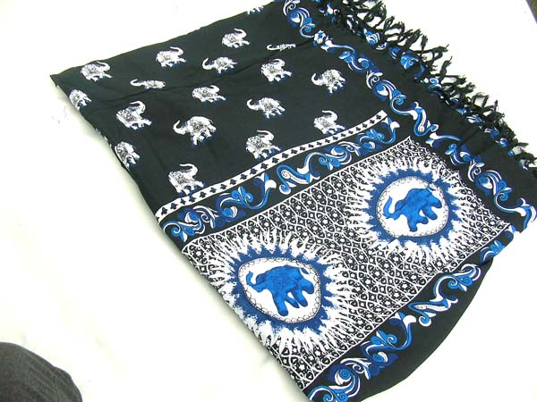 Balinese beach wear factory, Stylish fashion sarong in black with white and blue elephant pattern