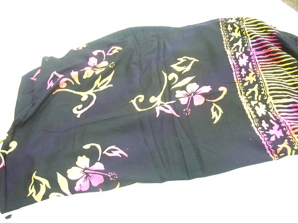 Import wholesale trader, Swimsuit cover all sarong in black with fashionable pink and green flower pattern