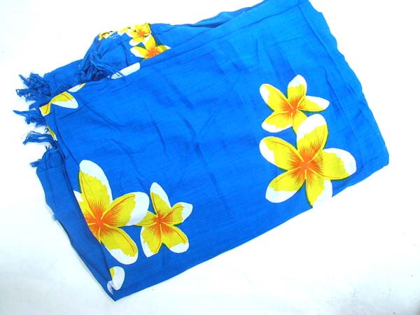 Shopping online market, Balinese fashion sarong in blue with yellow spring flower design