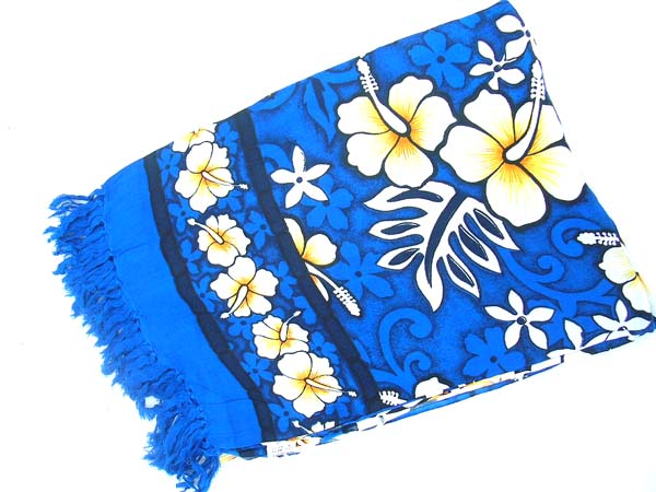 Aloha fashion sarong in royal blue with white hibiscus flowers, warehouse supply store