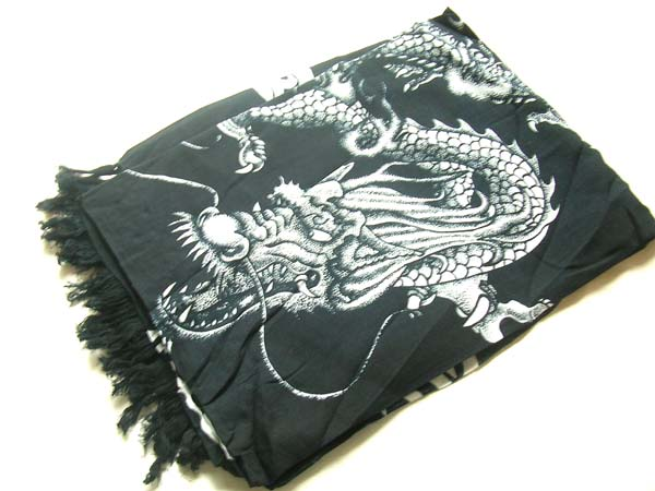 White asian dragon insignia on black handcrafted bali scarf, Canada wholesale company