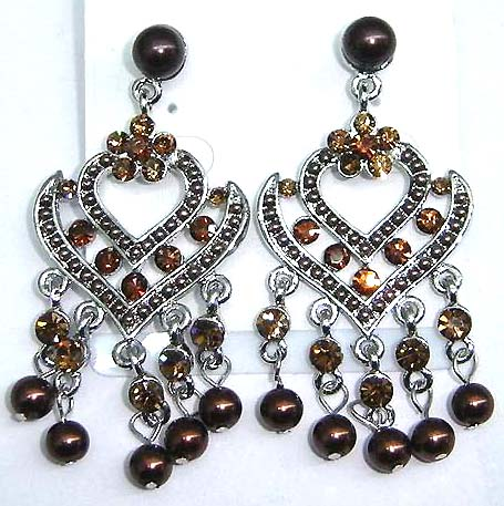 Wholesale beaded earring, heart love stud earring with cz and beaded dangles