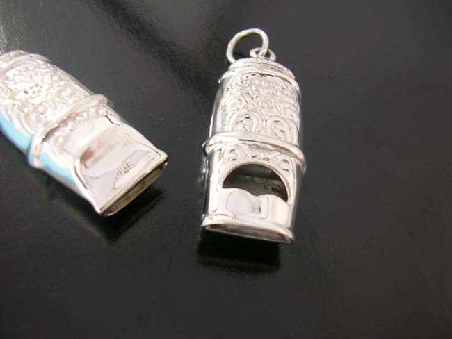 Sterling silver, whistles, pendant jewelry, handmade designs, beauty wear, crafted clothing, glamour necklaces