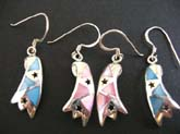 Sterling silver irregular shape earring with cut-out star and assorted dye color seashell inlay